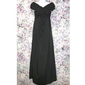 🆕 V Neck Off Shoulder Solid Maxi Dress